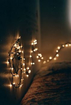 beautiful way to set up lights in the bedroom - looks so cozy!