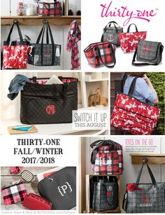LOVE the new Thirty-One prints for the 2017-2018 Fall-Winter season. Moosin' Around & Chevron Squares are great additions to Charcoal Crosshatch & Check  Mate for the Black & White (& Red) prints. Check them out at MyThirtyOne.com/PiaDavis