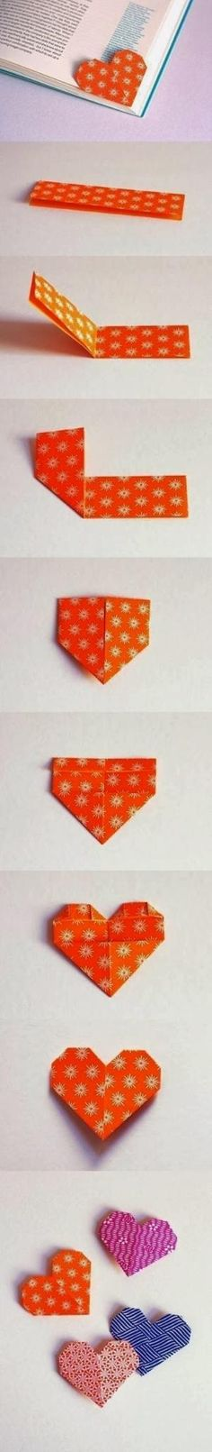 DIY : Cute Origami Heart Shaped Bookmark by Hairstyle Tutorials