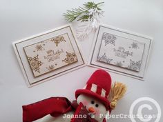 Christmas cards made by Joanne's PaperCreations. White Cardstock. Silver and Gold Embossing Powder.  Festive Flurry SU stampset and Wondrous Wreath stampset.