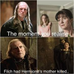"""And then, there's this. Catelyn Stark is played by Michelle Fairley, who also played Hermione's mom in """"Harry Potter."""" Walder Frey is played by David Bradley, who also played Hogwarts caretaker Argus Filch. I can't take it."""