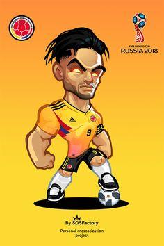 Russia 2018 Falcao Cute Football Players, Football Player Drawing, Football Fever, Team Wallpaper, Cute Sketches, Minecraft Pixel Art, Cartoon Logo, International Football, Mascot Design