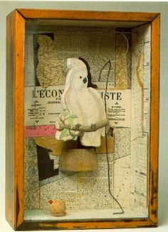 "Joseph Cornell- ""A Parrot for Juan Gris"" Winter Kb); Construction, 17 x 12 x 4 in; Collection Paul Simon Together/ Collection/ Gather/ Found/ Surreal/ Narrative/ Story Collages, Collage Art, Paul Simon, Arte Assemblage, Joseph Cornell Boxes, Found Object Art, Box Art, Art Boxes, American Artists"