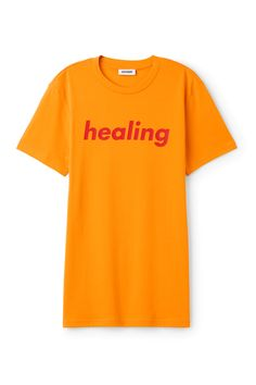 Weekday image 3 of Alan Pride T-Shirt in Yellow Reddish