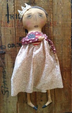 Primitive Americana Doll by oldcacklinhen on Etsy