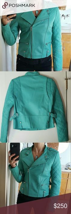 """NEW Aqua Genuine Leather Quilted Biker Moto Jacket NEW Aqua Genuine Leather Quilted Biker Moto Jacket   I had this jacket custom designed in Europe. Inspired by a Barbara Bui jacket style & by a Balmain jacket color. 100% Unique. There's only this 1 in existance!   NEW with tags  Size:  Small or XS (see measurements.)  Measurements (approx.) are: -Bust (armpit to armpit): 17.5""""  -Across Hem of jacket: 17""""   -Shoulders: 14.75""""  -Sleeve length: 24.5"""" -Body Length*: 20"""" (below collar to hem, on…"""