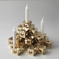 Candle Holder in solid brass. Made in Sweden.  Material: Brass. Size: 4.5 X 4.5 cm. Design: Erik Olovsson.
