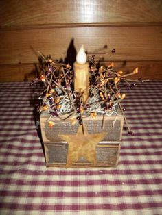 PRIMITIVE BARN WOOD 5X5 LIGHTED CANDLE BOX/Country/Rustic/Distressed/Old/Worn #NaivePrimitive