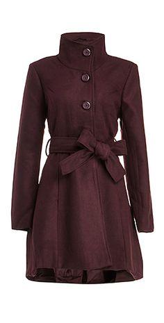 Plum belted coat