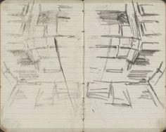 George Hendrik Breitner | Gevel van een winkel op de Nieuwendijk te Amsterdam, George Hendrik Breitner, c. 1894 | Pagina 17 en pagina 18 uit een schetsboek met 31 bladen.