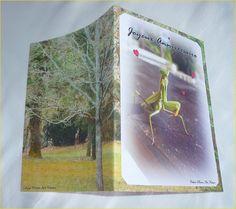 Carte double anniversaire Coquine Mante religieuse de Céline Photos Art Nature Celine, Nature Sauvage, Cover, Books, Photos, Blankets, Praying Mantis, Rogues, Cards