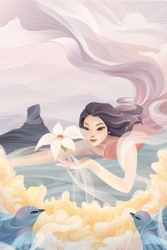 Menghui Huang on Behance Art Sketches, Art Drawings, Exhibition Poster, Fantasy Illustration, Cartoon Art, Cute Art, Art Inspo, Art Girl, Character Art