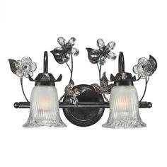Two Light Deep Rust Iced Glass Vanity : G99E   Bright Light Design Center