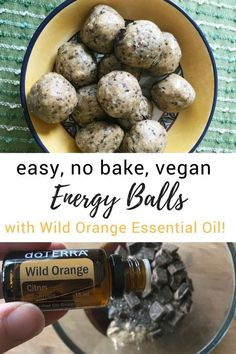 Easy five-ingredient no-bake energy balls with wild orange essential oil. These energy balls are healthy, gluten-free, vegan and absolutely delicious!