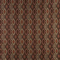 Brown Gold Persimmon And Ivory Small Scale Embroidered Pointed Oval Brocade Upholstery And Window Treatments Fabric By The Yard