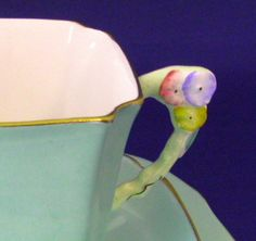 Teacup Trio Royal Standard Art Deco Flower Handle Green 1930s Cup And Saucer With Plate