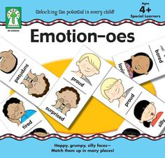 A Key Education early learning game that is a new twist on a long beloved game of dominoes: Emotion-oes. Instead of matching numbers, players will match emotion icons with same or matching name pieces