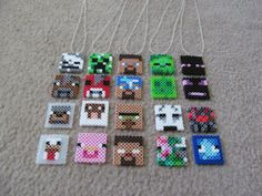 Craft Pixel Face Necklace // YOU CHOOSE EVERYTHING // Handmade Minecraft Inspired Theme Birthday Party Favor // Stocking Stuffer