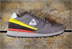 Who remembers Le Coq Sportif? i'm in love with this grey yellow coral colorway #sneakers
