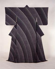 Japan, Kimono with Flowing Water Design, by Moriguchi Kunihiko, yuzen silk, 1992