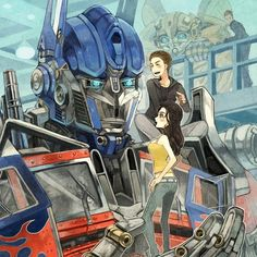 Transformers fan art - Optimus Prime, Sam, Mikaela
