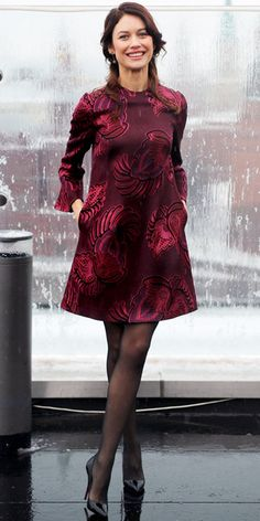Olga Kurylenko in an embroidered Stella McCartney shift dress at a press event for 'Oblivion' in Moscow