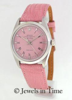 Rolex Womens Air-King Steel Pink Dial Automatic Vintage Watch 1008