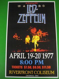 LED ZEPPELIN REPRODUCTION CONCERT POSTER COLISEUM 1977