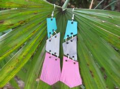 Hand Painted * Pink Teal & Silver Leather Earrings, $45.00