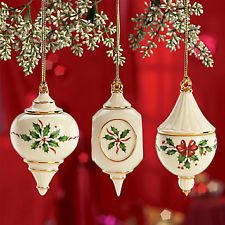 LENOX 2012 Holiday Traditions Christmas ORNAMENT Set of 3 NEW