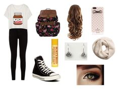 """""""Every Day"""" by lburklow ❤ liked on Polyvore featuring 7 For All Mankind, Converse, H&M, Kate Spade and Bronwen"""