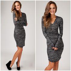 Body Conscious Long Sleeve Knit Dress