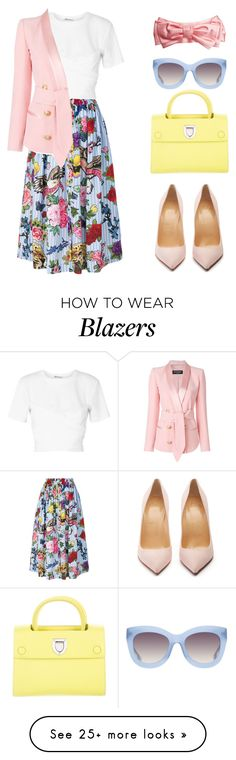 """Untitled #684"" by rebecky89 on Polyvore featuring Philipp Plein, T By Alexander Wang, Balmain, Christian Dior, Alice + Olivia, Gucci and Christian Louboutin"