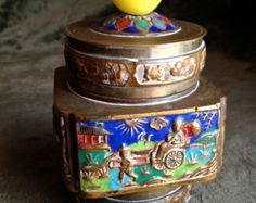 CHINESE Enameled Brass Tea Container with Yellow Glass Knob Handle