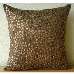 Gold Leaves - 18x18 inches Square Decorative Throw Brown Silk Pillow Covers with Sequins & Beads Embroidery The HomeCentric http://www.amazon.com/dp/B00D0OR736/ref=cm_sw_r_pi_dp_eQBiub15GNK3D