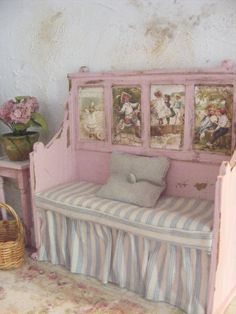 Miniature shabby chic bench seat-12th scale by shabbychicminis