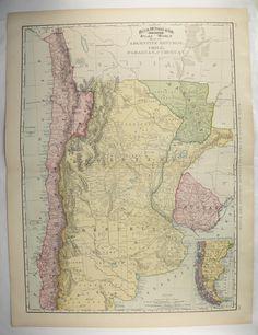 South America Map Art High Res DIGITAL IMAGE Of A S Vintage - Argentina map vintage