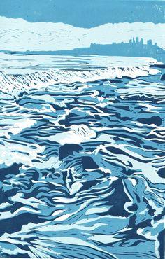 """Incoming Tide, Dunstanburgh, Northumberland"" by Lindsay Perrett (Reduction Linocut, 2011) #linocut"