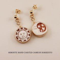Sun and Moon Cameo Earrings Bimonte Cameos Coral Sorrento