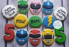 These amazing iced Power Ranger sugar cookies are perfect for a party.