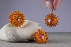 Glas Schmucksets - Schmuckset, Ohrringe und Ring orange - ein Designerstück von kreativrausch-kiel bei DaWanda