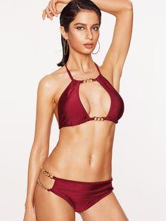 0263d7a0ebfa0 Red Metal Chain Detail Halter Bikini Se Size Available  S