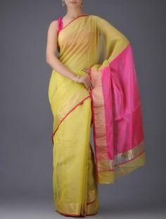 Yellow-Pink Chanderi Saree with Zari Border