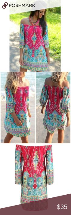 Coming soon. Reserve now!!! Casual wear dress. Great for the summer. Off the shoulder 3/4 sleeves. Unique pattern. Off the shoulder but can be worn on the shoulder. Retail Dresses Mini
