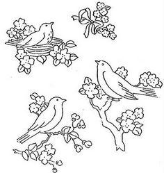 dibujos de pajaritos en ramas. pirograbado