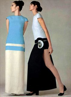 The Swinging Sixties — Models wearing dresses by Pierre Cardin, 60s And 70s Fashion, 60 Fashion, Unisex Fashion, Fashion History, Fashion Pants, Retro Fashion, Vintage Fashion, Fashion Outfits, Fashion Images