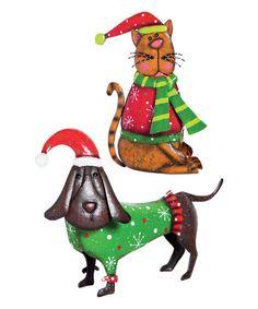 Christmas Dachshund & Cat Figurine