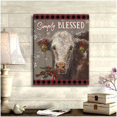 Christmas Wall Art Canvas Cow Canvas, Canvas Wall Art, Canvas Prints, Christmas Wall Art Canvas, Cow Wall Art, Canvas Material, Beautiful Christmas, Home Art, Cotton Canvas