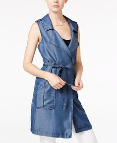 Sanctuary Chambray Long Belted Vest - Jackets - Women - Macy's