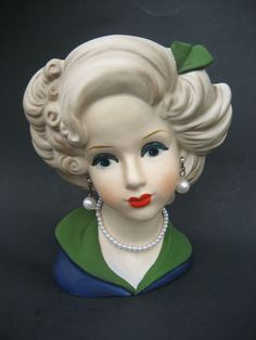 Vintage Lady Head Vase Napcoware | love this ladies feathered wide hairdo—so chic and yet very classy ...